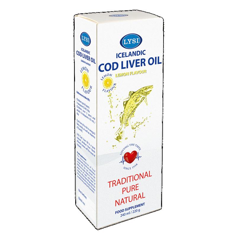Ulei din ficat de cod cu aroma de lamaie LYSI, 240 ml