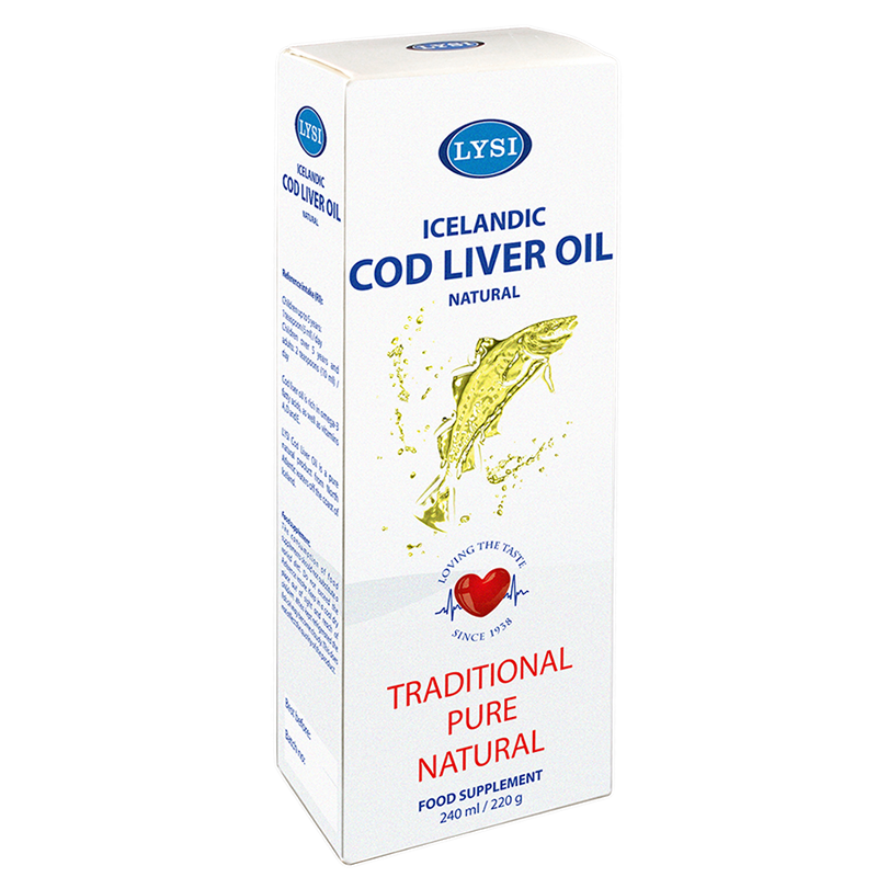 Ulei din ficat de cod natural LYSI, 240 ml