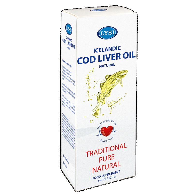 Ulei din ficat de cod natural LYSI, 240 ml
