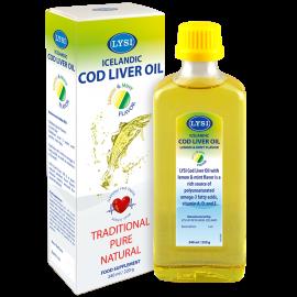 Ulei din ficat de cod cu aroma de Lamaie si Menta Lysi, 240 ml